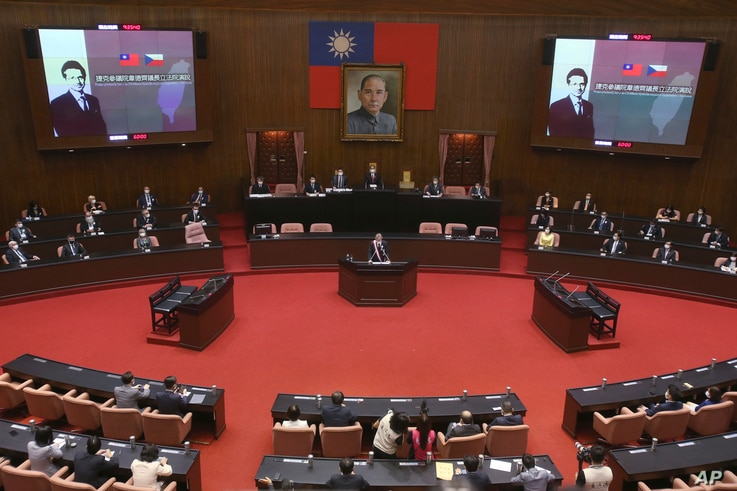 The Czech Senate President Milos Vystrcil delivers a speech at the Legislative Yuan in Taipei, Taiwan, Sept. 1. 2020.