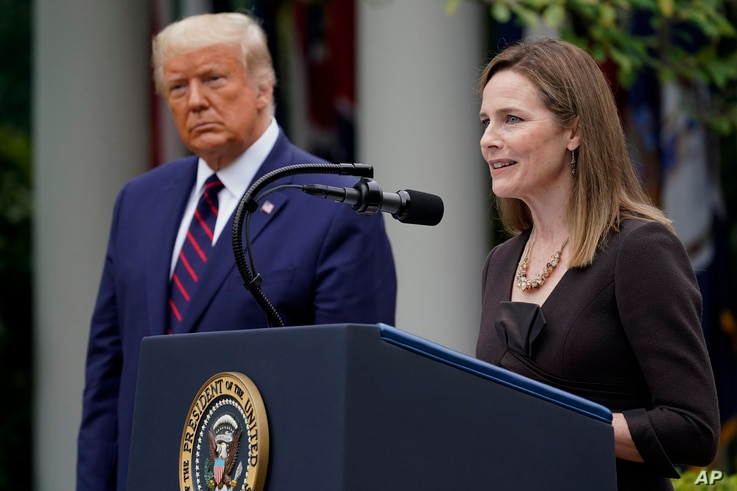 Judge Amy Coney Barrett speaks after President Donald Trump announced her as his nominee to the Supreme Court, in the Rose Garden at the White House, Sept. 26, 2020, in Washington.