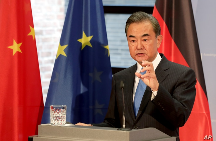 China's Foreign Minister Wang Yi addresses the media during a visit to Berlin, Germany, Sept. 1, 2020.