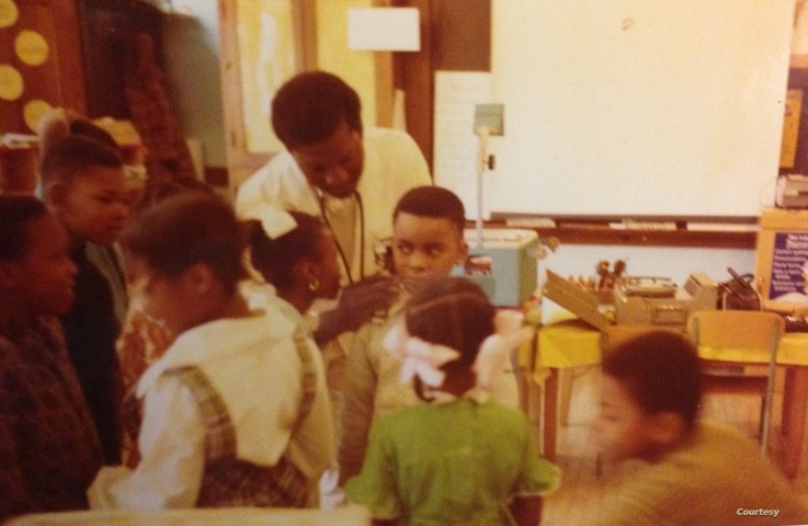Dr. David Satcher and his siblings getting a checkup from a Black doctor. At the time, Black doctors did not have admitting rights to hospitals in the South.(Photo courtesy of Satcher family)