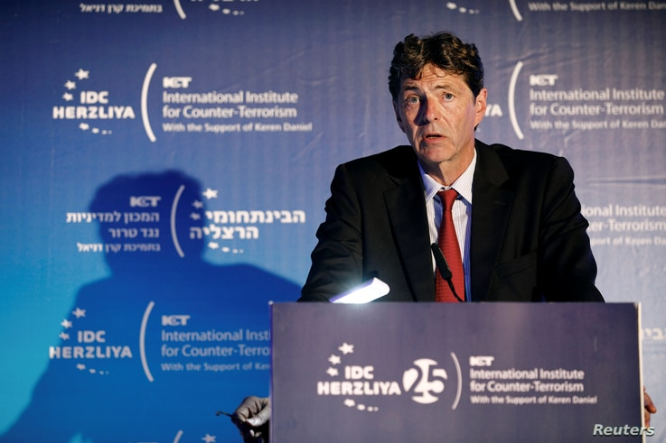 FILE - Arndt Freytag von Loringhoven, NATO's first chief of intelligence and deputy head of Germany's foreign intelligence agency, speaks at the World Summit on Counter-Terrorism, in Herzliya, Israel, Sept. 4, 2018.