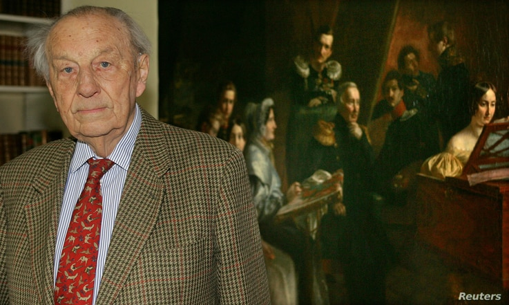 FILE - Bernd Freytag von Loringhoven poses in front of a painting of his ancestors at his home in Munich, Germany, April 29, 2005. Freytag von Loringhoven, who was responsible for drafting battle front maps for Adolf Hitler, died in 2007.