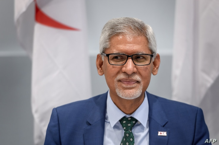 International Federation of Red Cross and Red Crescent Societies (IFRC) Secretary General Jagan Chapagain attends a signing…