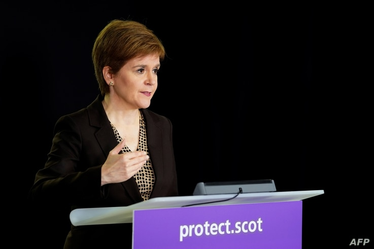 A handout picture released by the Scottish Government on October 2, 2020 shows Scotland's First Minister, Nicola Sturgeon…