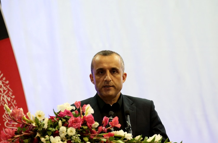 Amrullah Saleh first vice-presidential candidate of Ashraf Ghani speaks during the presidential election campaign in Kabul,…