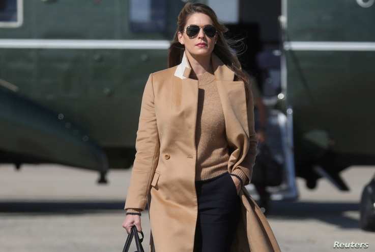 Hope Hicks, an advisor to U.S. President Donald Trump walks to Air Force One to depart Washington.