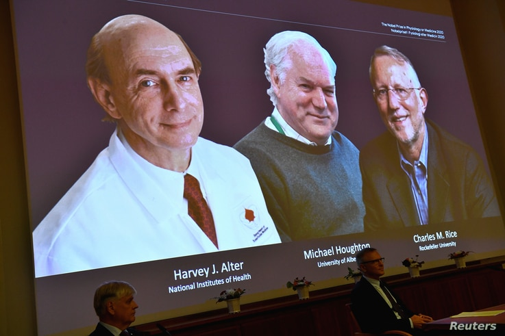 Harvey J. Alter, Michael Houghton and Charles M. Rice, are seen on a screen as the three laureates as they are announced as the…
