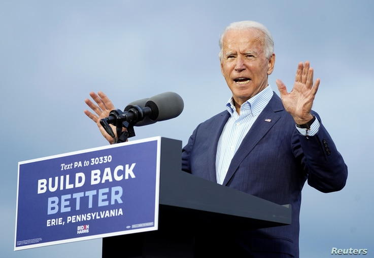 U.S. Democratic presidential candidate Joe Biden speaks during a campaign event at United Association (UA) Plumbers Local 27.