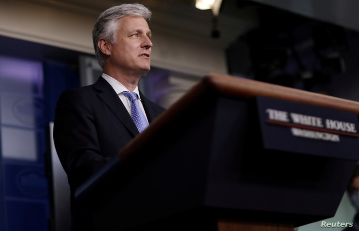 FILE PHOTO: National Security adviser Robert O'Brien speaks during a press briefing at the White House in Washington, US,…