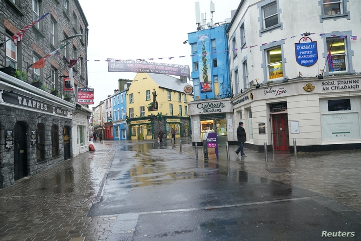 Empty city centre shopping streets are seen as the coronavirus disease (COVID-19) outbreak continues, in Galway, Ireland,…