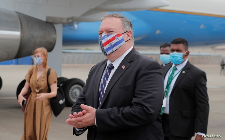 U.S. Secretary of State Mike Pompeo walks to board an aircraft to leave for Maldives, in Colombo, Sri Lanka October 28, 2020…