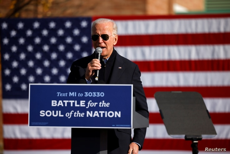 Democratic U.S. presidential nominee and former Vice President Joe Biden speaks at a campaign drive-in, mobilization event in…