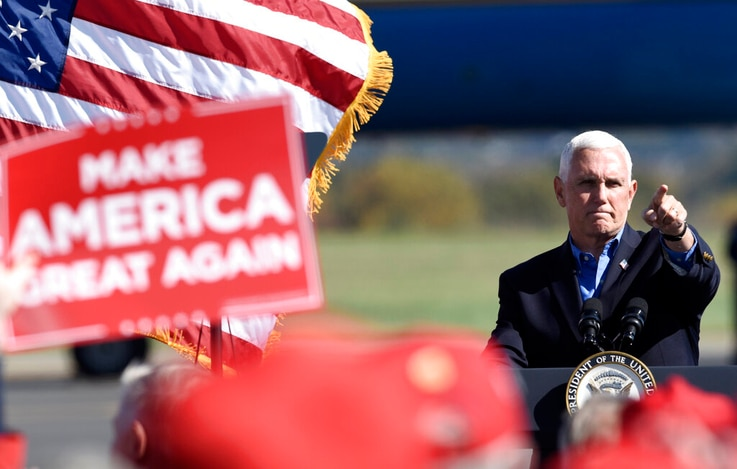 Vice President Mike Pence speaks at a campaign rally held at the Reading Regional Airport, Saturday, Oct. 17, 2020, in Reading,…