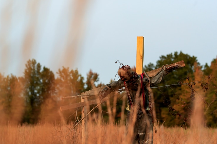 A scarecrow hangs from a cross on the haunted trail of Terror Town, Oct. 17, 2020, in Williamsburg, Ohio.