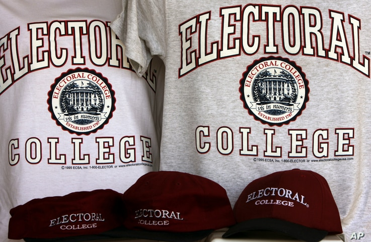 FILE - In this Oct. 28, 2008, file photo, sportswear bearing the name of a college that doesn't exist: the Electoral College,…