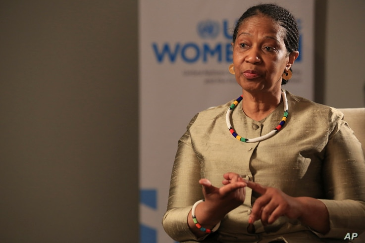 Phumzile Mlambo-Ngcuka, United Nations Under-Secretary-General and Executive Director of U.N. Women, speaks during an interview…