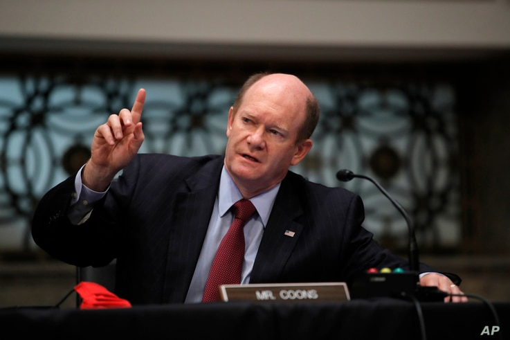 Sen. Chris Coons, D-Del., speaks during a Senate Judiciary Committee business meeting to consider authorization for subpoenas…