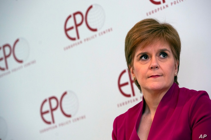 FILE - In this Feb. 10, 2020, file photo, Scotland's First Minister Nicola Sturgeon speaks during an event 'Scotland's European…