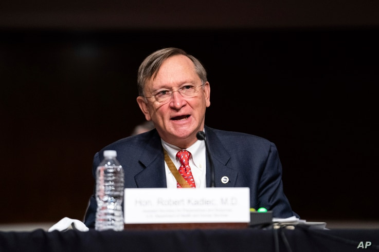 Robert Kadlec, assistant secretary of Health and Human Services for Preparedness and Response, testifies at a hearing with the…