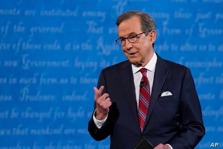 Moderator Chris Wallace of Fox News speaking on stage before the start of the first presidential debate Tuesday, Sept. 29, 2020, at Case Western University and Cleveland Clinic, in Cleveland, Ohio.