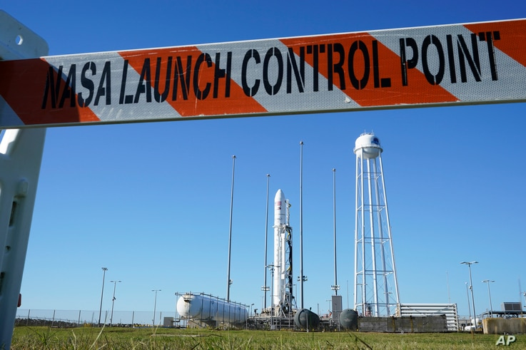 Northrup Grumman's Antares rocket is poised for launch at the NASA Wallops test flight facility Thursday, Oct. 1, 2020, in…