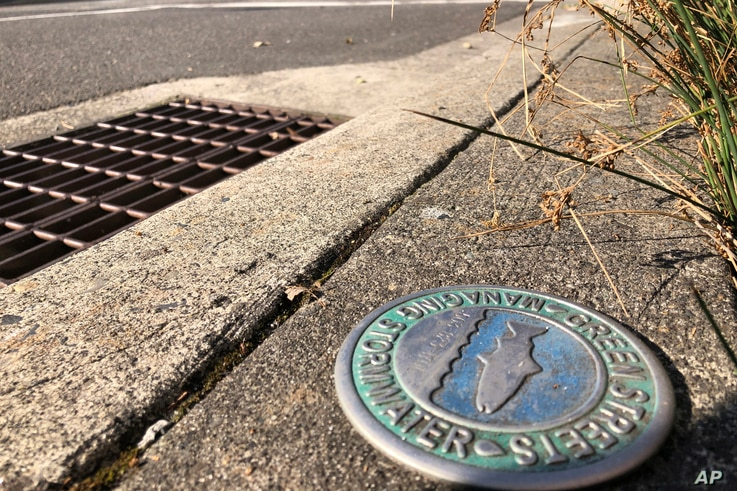 A Green Streets Managing Stormwater emblem is displayed by a stormwater drain near the Immigration and Customs Enforcement…