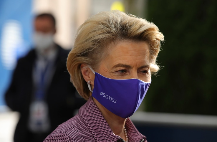 European Commission President Ursula von der Leyen arrives for an EU summit at the European Council building in Brussels,…