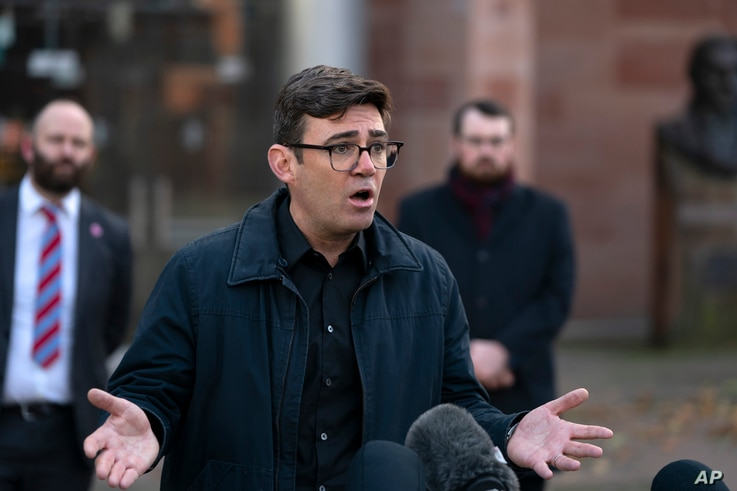 Greater Manchester mayor Andy Burnham speaks to the media outside Bridgewater Hall, following last-ditch talks with the Prime…