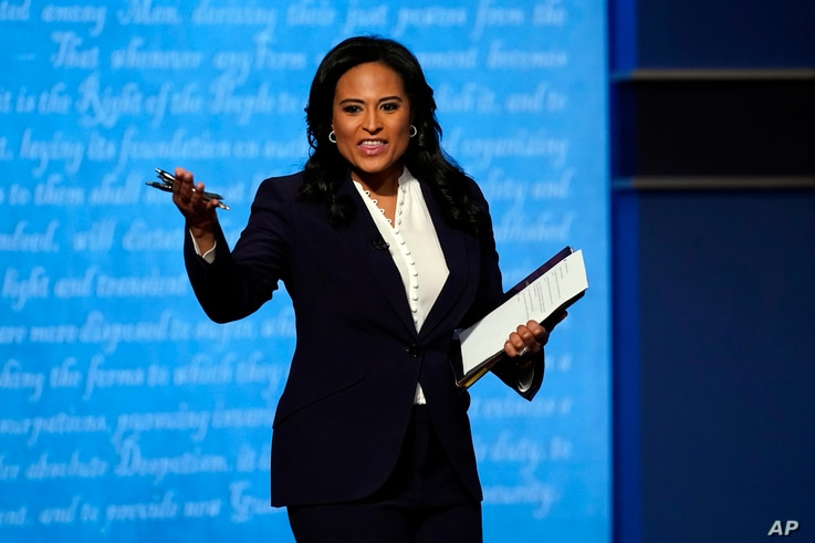 Moderator Kristen Welker of NBC News speaks before the second and final presidential debate Thursday, Oct. 22, 2020, at Belmont…