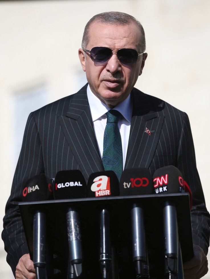 Turkey's President Recep Tayyip Erdogan speaks to the media, in Istanbul, Friday, Oct. 23, 2020. Erdogan confirmed the country…