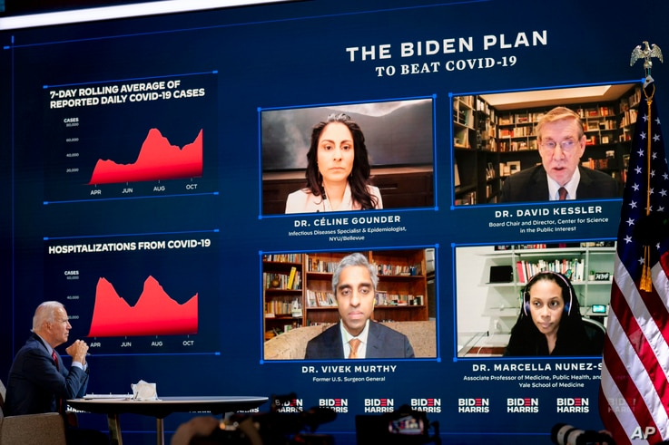 Democratic presidential candidate former Vice President Joe Biden attends a virtual public health briefing at The Queen theater…