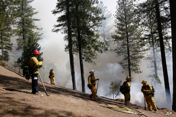 Firefighters hold the line along a containment area while fighting the King Fire on Tuesday, Sept. 23, 2014, in Mosquito, Calif…