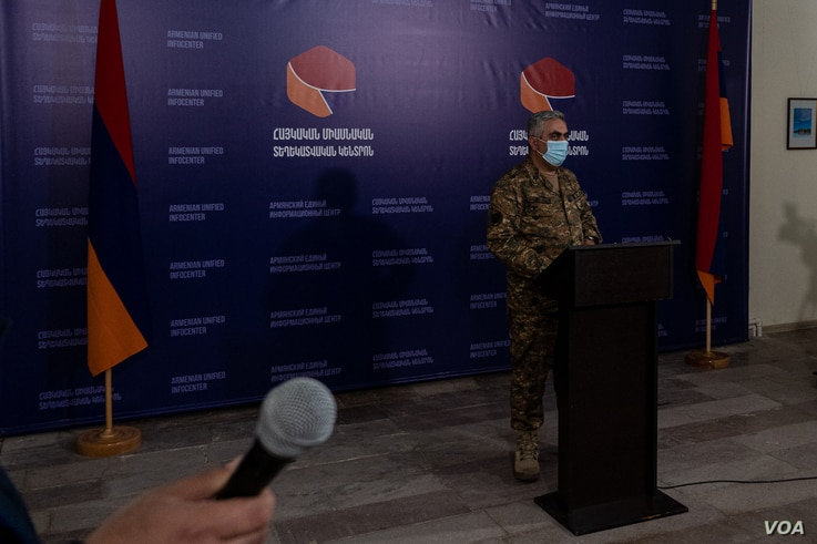 Artsrun Hovhannisyan, a spokesperson for the Armenian Ministry of Defense, says the current conflict is the most dangerous since the 1990s, when the hostilities began, pictured on Oct. 7, 2020 in Goris, Armenia. (Yan Boechat/VOA)