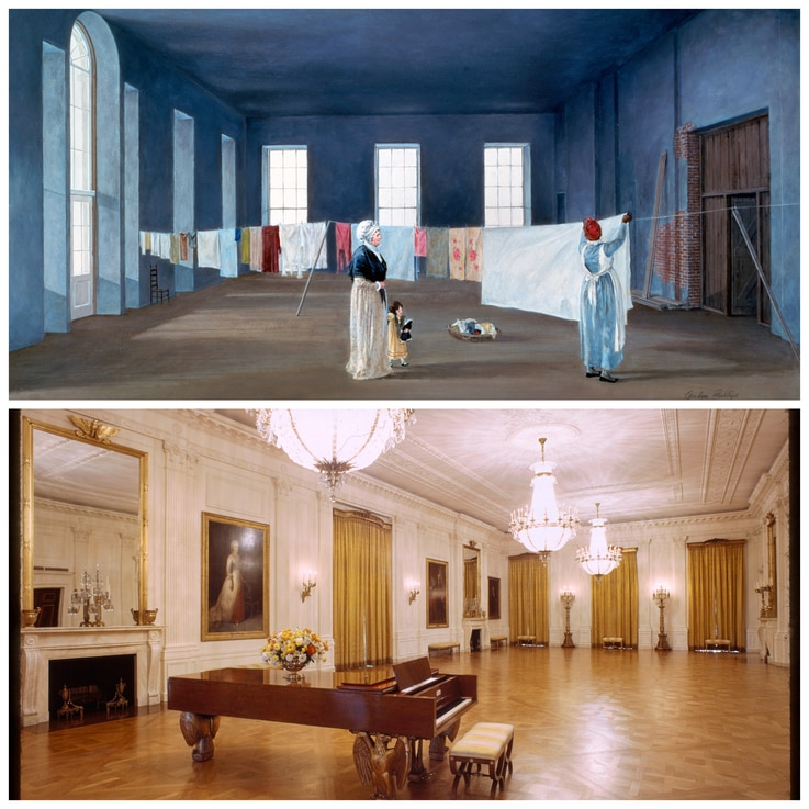 White House guests have reported smelling fresh laundry and lavender in the East Room, where First Lady Abigail Adams once hung clothes out to dry and where some have reported seeing Adams' ghost. (Courtesy White House Historical Association)