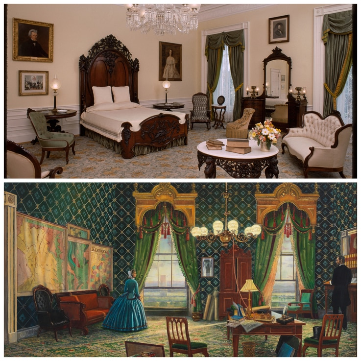 White House guests and staff have reported seeing apparitions in the Lincoln Bedroom, which President Abraham Lincoln used as an office. (Top photo courtesy White House Historical Association; painting courtesy Peter Waddell for the White House Historical Association)