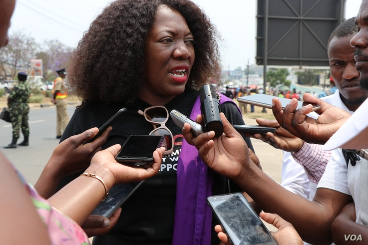 Maggie Kathewera Banda led Friday's protests in Blantyre, and is executive director of a lobby group, Women's Manifesto.(Lameck Masina/VOA)