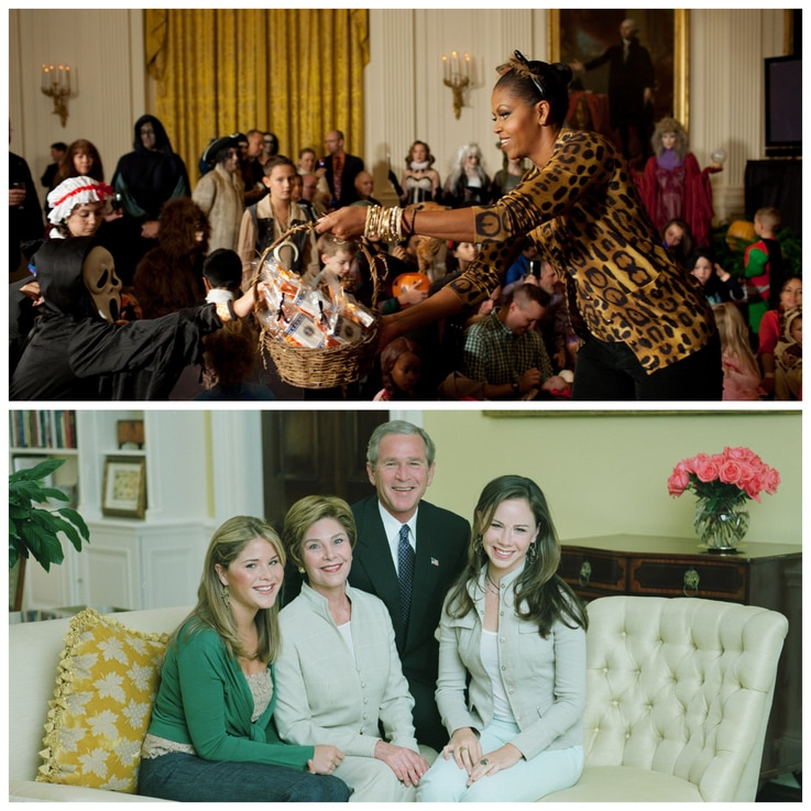 (Top) First Lady Michelle Obama during a Halloween reception at the White House, Oct. 31, 2009 (Official White House Photo by Pete Souza/WHHA) (Bottom) Left to right: Jenna Bush, First Lady Laura Bush, President George W. Bush, and Barbara Pierce Bush, July 13, 2004. (George W. Bush Presidential Library and Museum/WHHA)