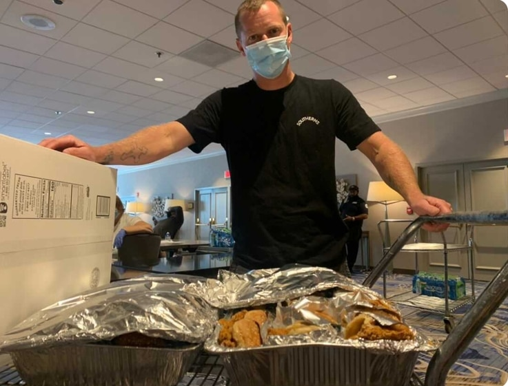 Gene Colley of Southerns getting set up to serve donated chicken sandwiches to Hurricane Laura evacuees at the Marriott Hotel. Photo courtesy of Southerns.