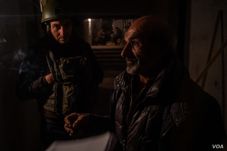 Stepan-18: Hmayak Vanyan, 60, is a former soldier who fought in the 90s and his sons are now fighting in an extension of that conflict, pictured on Oct. 9, 2020 in Nagorno-Karabakh (VOA/Yan Boechat)