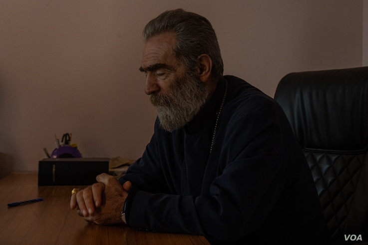 """Stepan-7: Pargev Martirosyan, the Archbishop of Artsakh (the local name for Nagorno Karabakh) was blunt on Saturday asking, """"What ceasefire?"""" in in Nagorno-Karabakh on Oct. 10, 2020. (VOA/Yan Boechat)"""