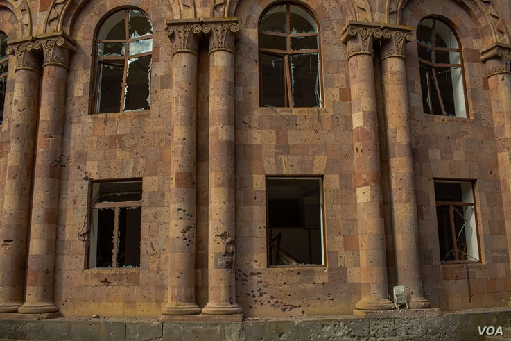 Windows were smashed and furniture splintered at a cultural center/music school in Nagorno Karabakh, Oct. 11, 2020. (Yan Boechat/VOA)