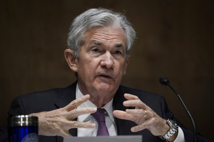 Federal Reserve Board Chairman Jerome Powell testifies during a Senate Banking Committee hearing, Sept. 24, 2020 on Capitol Hill in Washington.of the coronavirus pandemic. (Drew Angerer/Pool via AP)