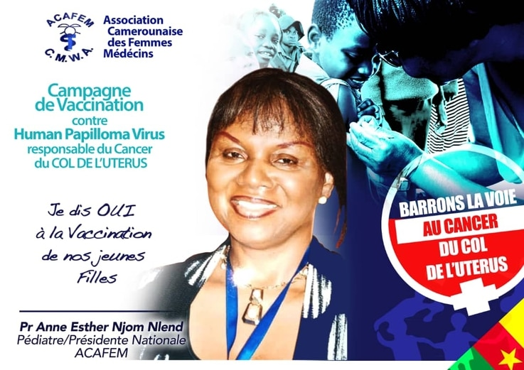 A poster of a member of Cameroon's Medical Women Association endorsing HPV vaccines.
