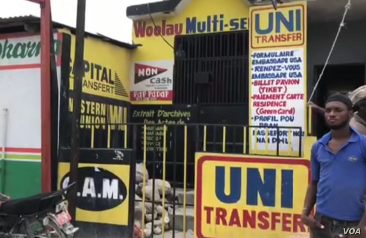 A money transfer business is shuttered in protest of new regulation, in Port au Prince, Haiti. (Matiado Vilme/VOA)