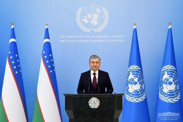 FILE - In his address to the United Nations General Assembly Sept. 23, 2020, Uzbek President Shavkat Mirziyoyev reiterated that reforms in his country are irreversible (President.uz)