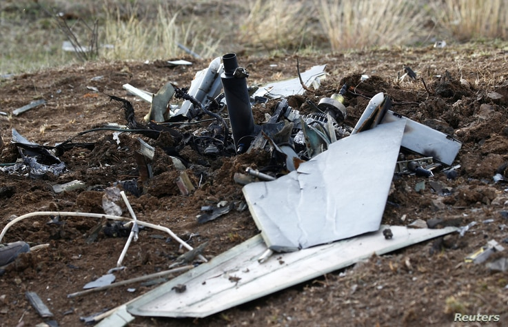 The remains of an unmanned aerial vehicle are pictured on the outskirts of Stepanakert during the military conflict over the breakaway Nagorno-Karabakh region, Oct. 11, 2020.