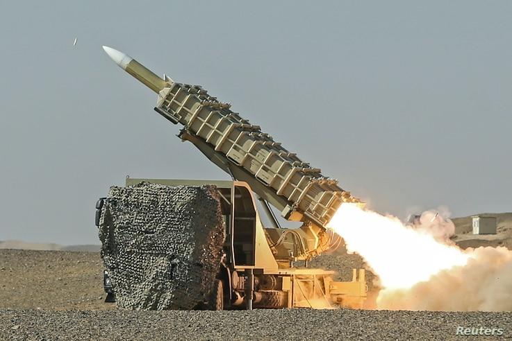 A missile is launched during a military drill, with the participation of Iran's Air Defense units, Oct. 20, 2020.