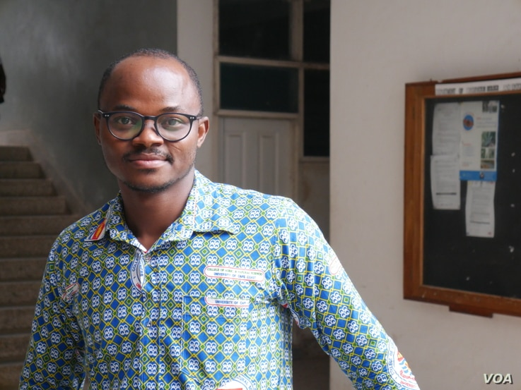 Dr Donatus Angnuureng from the Center for Coastal Management has been studying Ghana's coastal erosion. Sept 30, 2020. (VOA/Stacey Knott)