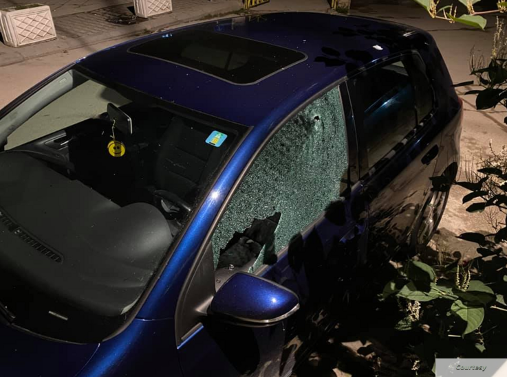 Reporter Shkumbin Kajtazi said the attack on his car occurred about midnight Sunday, when it was parked in downtown Mitrovica, Kosovo. (Facebook)