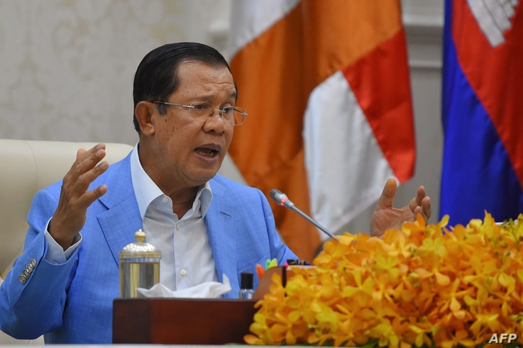 Cambodia's Prime Minister Hun Sen speaks to the media during a press conference at the Peace Palace in Phnom Penh on April 7,…
